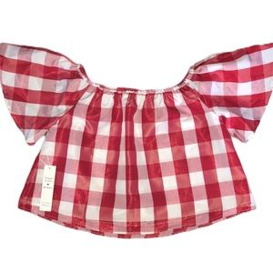 Red Gingham Shimmery Off The Shoulder Top M